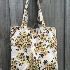 Shopping Bag - Apricot Floral Barkcloth