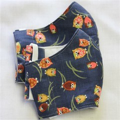 Owl Fabric Face Masks Size: 3-6/7-12yrs kids Ready Made