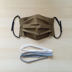 New Size! S,M,L/Olive green/Pleated Face Mask with filter pocket and Nose Wire