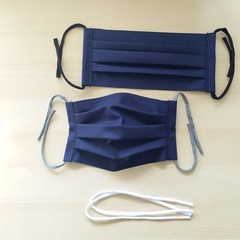 New Size! S,M,L/Navy/Pleated Face Mask with filter pocket and Nose Wire