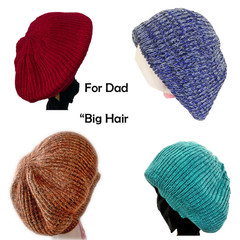 """Big Hair"" beanies for DAD.  Warm, unique, handmade"
