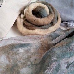 Nuno Felted Scarf Kit, Beautiful Grey Blue tones