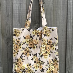 Shopping Bag - Apricot Floral Barkcloth