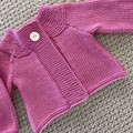 Pink Cardigan - Size 0-6 months - organic wool/cotton Hand knitted