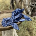 Blue and white scrunchies