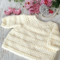 Cream Hand Crocheted Knitted Baby Jumper Sweater  3-6 months