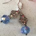 Blue crystal drop earrings in organza bag
