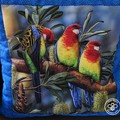 Australiana hand quilted  rosella cushion cover