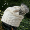 Aran (wool white) coloured slouchy beanie, faux fur pompom