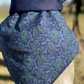 Blue paisley and denim scarf / bandana