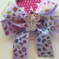 Fruit double looped bow with embellishment.