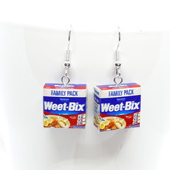 Weet-Bix dangle Earrings, miniature foods, Aussie food Jewellery