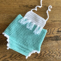 Crochet Boho Romper, Size 00 0, Baby Girls Playsuit