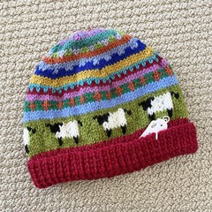 Red Sheep Beanie - to fit approx size 1-3 years -hand knitted