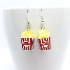 Popcorn dangle Earrings, Buttered popcorn, Miniature popcorn earrings