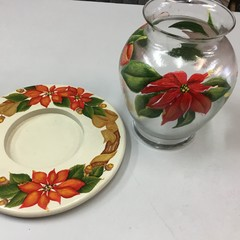 Hand painted Christmas table centrepiece