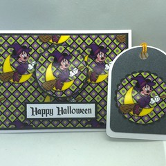 Mickey Mouse Halloween Card with matching Gift Tag