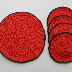 Set of Four Christmas Drink Coasters and a Jug Mat