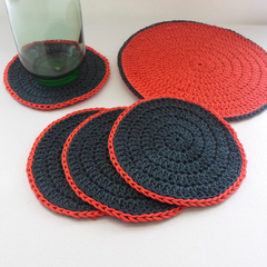 Christmas Drink Coaster Set in Red and Green with Jug Mat