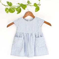 Upcycled Cotton Toddler Pockets Dress Size 1