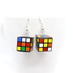 Miniature Rubik's Cube dangle Earrings
