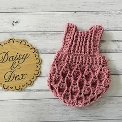 Crochet Elodie Romper, Size 000 000, Baby Girls Playsuit