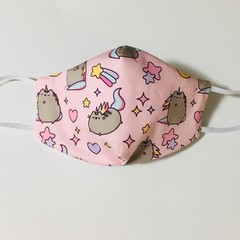 READY TO POST 3 layer Mask Pink Pusheen Cat Face Cover Reusable Cloth Mask