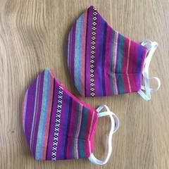 Face Masks - Magenta Stripes - Reusable Fabric Masks