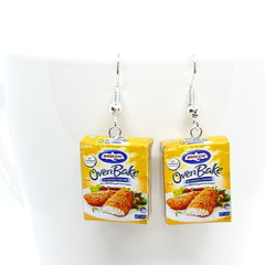 Birds Eye Oven Bake frozen food dangle Earrings, miniature food earrings