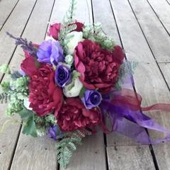 Burgundy,Purple Faux Peonie,Rose Wedding Bouquet Set