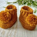 Mustard Tweed Crochet Baby Booties with Pompoms Pregnancy Announcement Reveal