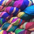 Recycled silk chiffon ribbon Multicolour brights 100 grams