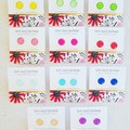 One Pair of Colour Pop Glass - Silver Plated Studs
