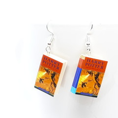 Miniature Book dangle earrings, Harry Potter book Goblet of Fire