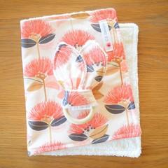 Burp Cloth & Teether Gift Set - Retro floral