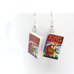 Miniature Book dangle earrings, Harry Potter book, Philosopher's Stone