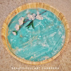 Tiffany Blue, White  and Gold Resin Art Bamboo Serving Tray