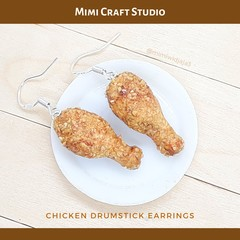 Miniature chicken drumstick dangle earrings, handmade polymer clay
