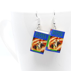 Miniature Book dangle earrings, Harry Potter book Half Blood Prince