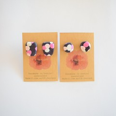 Navy & pinks patch polymer clay stud earrings