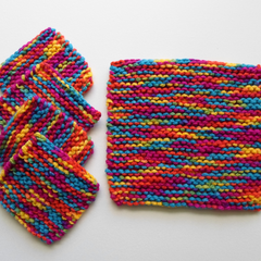Set of Four Drink Coasters and a Jug Mat in Vibrant Colours Ready To Ship