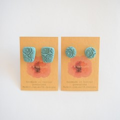 Dusty Blue embossed polymer clay stud earrings