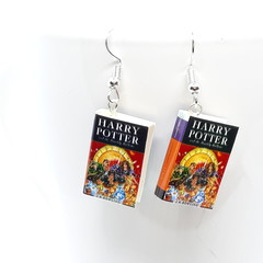 Miniature Book dangle earrings, Harry Potter book Deathly Hallows