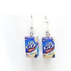 Miniature Up & Go dangle earrings, aussie food jewellery