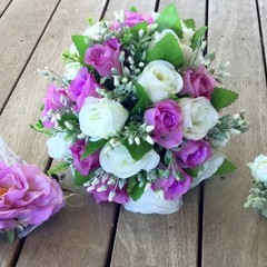 Pink Rose Faux Wedding Bouquet Package