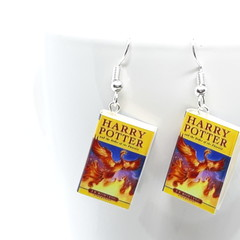Miniature Book dangle earrings, Harry Potter book Order of the Phoenix