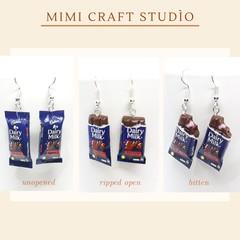 Miniature  Chocolate Bar Earrings, polymer clay earrings