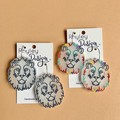 Statement White or Rainbow Lion Earrings