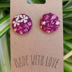 Mauve Fabric Studs 19mm