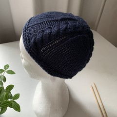 Navy handmade knitted baby beanie FREE postage